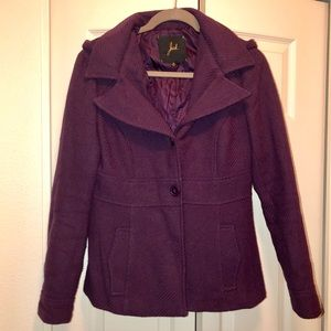 Fitted pea coat with hood